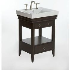 """Shop allen + roth Idylwood 25-in x 20-in Espresso 1 Bathroom Vanity"""" with Vitreous China Top at Lowes.com 