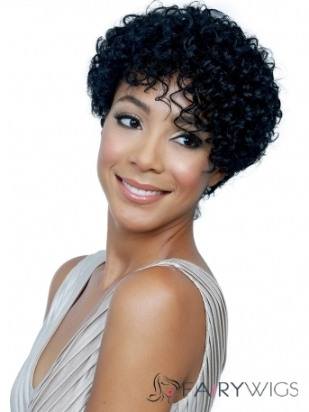 Chic Capless Short Curly Black Human Hair Wigs : fairywigs.com | African American Wigs | Scoop.it