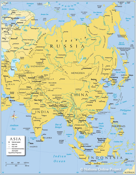 Map of Asia - Political Map of Asia - Nations Online Project | Year 3 Geography: Our near neighbours | Scoop.it