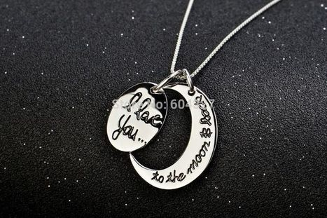 "Sterling Silver ""I Love You To The Moon and Back"" Two-Piece Pendant Necklace, 18"" 