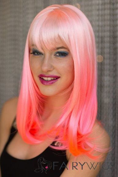 14 Inch Straight Lace Front Pink Top Quality High Heated Fiber Ombre Wigs : fairywigs.com | beauty-lover | Scoop.it