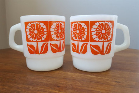 Retro Orange Daisy Fire King Mugs | whats been spotted on etsy today? | Scoop.it