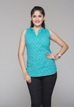 Find Best Discount Deals With Low Price On Designer Sea Green Coloured Top For Womens, Buy Basic Jacquard Top Only Rs-899 At Best Online shopping Designer Store For Ladies In India-Itibeyou.Com | Buy  Women Shirts‎ on itibeyou.com | Scoop.it