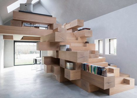 Stacked beams form Jenga-like workspace inside former barn in Belgium | Inspired By Design | Scoop.it