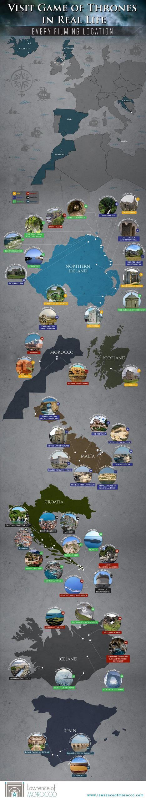La carte des lieux où a été filmé Game of thrones (Une carte du monde) | Géographie : les dernières nouvelles de la toile. | Scoop.it