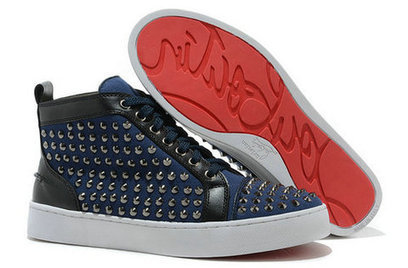 Demin Blue Christian Louboutin Spiked Louis Hi Top For Men Women [10026] - $134.00 : Cool Louboutins, Christian Louboutin Shoes Cool ,Cool Spiked Pump | Fashion shoes | Scoop.it