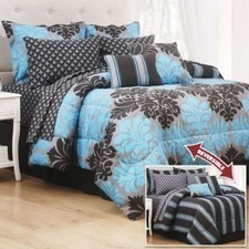 AnnasLines | Cortez Teal 10 Piece Reversible Bedding Set | Blue and White Bedding | Scoop.it