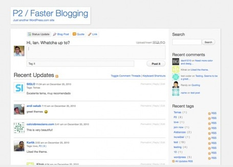 Real-Time Blogging with WordPress: The P2 Theme | Social Media (network, technology, blog, community, virtual reality, etc...) | Scoop.it