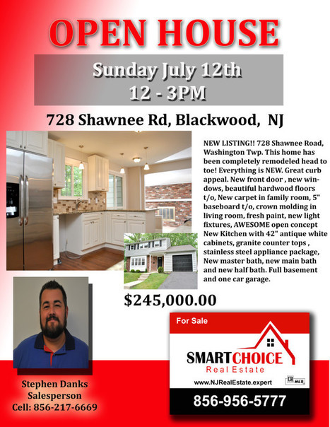 Open House Sunday July 12th 12-3pm 728 Shawnee Blackwood | SmartChoiceRealEstate | Scoop.it