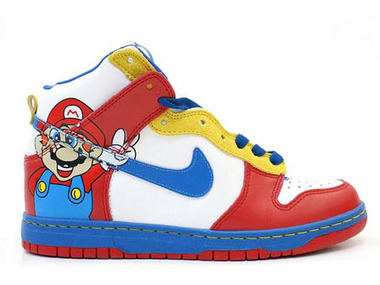 Super Mario Nikes Video Game Dunks Super Mario Nike Dunks / Super Mario High Tops | Hello Kitty Nike Dunks | Scoop.it
