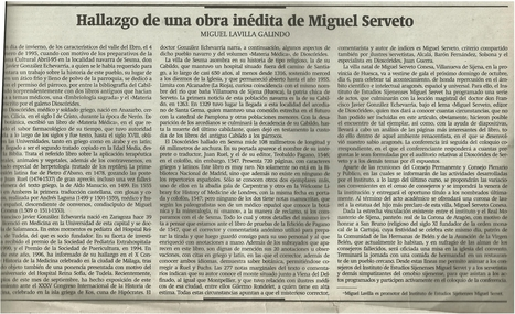 24-09-1996 Herald of Huesca- Article by Miguel Lavilla, Director of the Michael Servetus Institute, on the importance of the Materia Medica Dioscorides, new work by Servetus | Michael Servetus. Discovered  new works and true Identity. Proofs, lectures and International Congresses. | Scoop.it