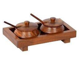 ExclusiveLane Sheesham Jar Set with Tray and Spoon (EL-005-031)   Home & Kitchen   Scoop.it