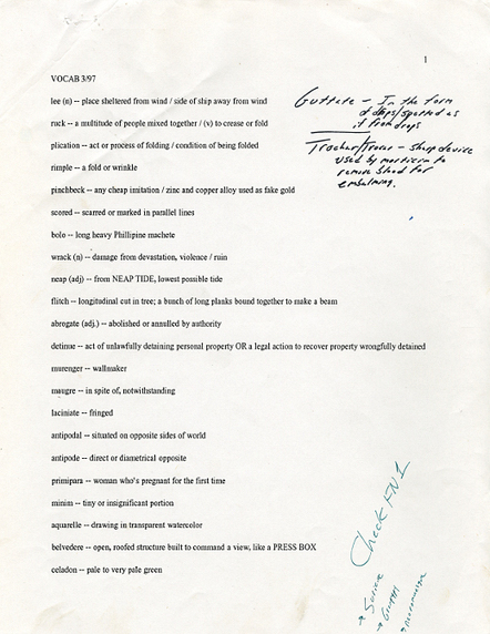 David Foster Wallace's Word Lists | Pens, Paper, Ink and Letters | Scoop.it