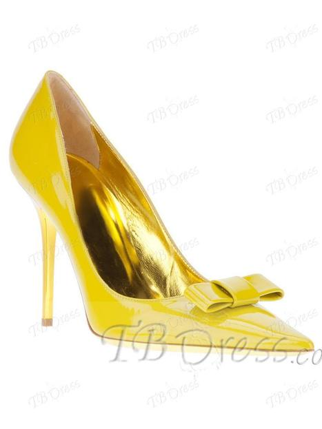 Lovely Yellow Closed Toe Stiletto Heels Women Prom Pumps   fashion numbleone   Scoop.it