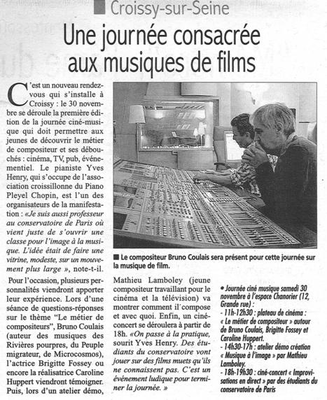 Journée Ciné Musique - Un nouvel événement ce week-end à Croissy | Croissy sur Seine | Scoop.it