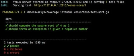 JavaScript Unit Tests and Code Coverage Tracking using Venus.js | javascript node.js | Scoop.it