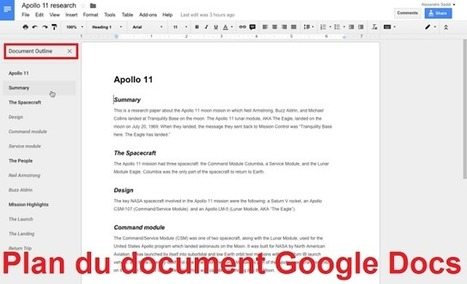 Google Docs propose un plan automatisé pour naviguer dans un document en cours | Scoop4learning | Scoop.it