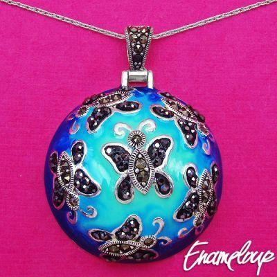 18.41 Grams Marcasite .925 Sterling Silver Blue Enamel Pendant   Online Jewellery Shopping in India   Scoop.it