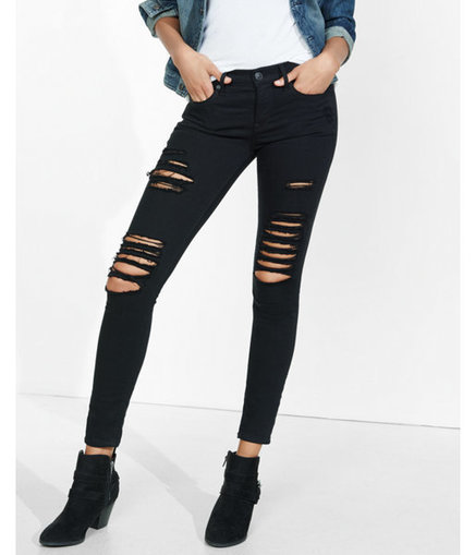 Express Womens Distressed Black Mid Rise Jean Legging | Jeans Fashion | Scoop.it