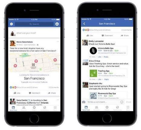 Facebook intègre la recommandation des commerces et entreprises locales | Mon Community Management | Scoop.it