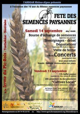 Fête des semences paysannes en Rhône-Alpes   Des droits de propriété intellectuelles sur des plantes standardisées et ainsi adaptées à un système agricole industriel.   Scoop.it