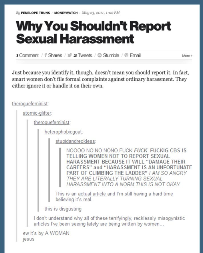 Why You Shouldn't Report Sexual Harassment | Dare To Be A Feminist | Scoop.it