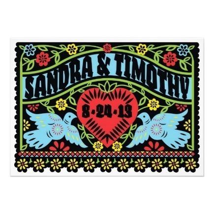 Love Birds Papel Picado Wedding Invitation from Zazzle.com | Altered Space Design | Scoop.it
