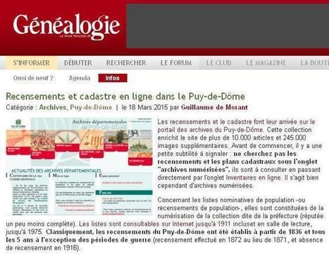 AD 63  : Puy-de-Dôme recensements et cadastre | CGMA Généalogie | Scoop.it