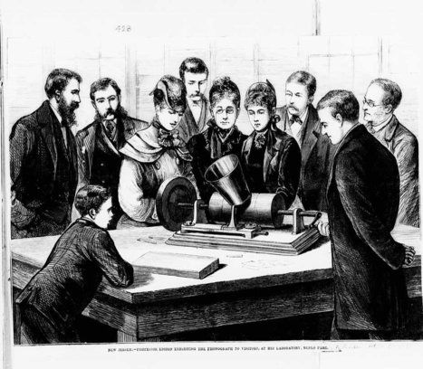 Illustration of Thomas Edison exhibiting the Phonograph | A World of Sound | Scoop.it
