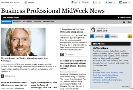 Aug 22 - Business Professional MidWeek News | Transformations in Business & Tourism | Scoop.it