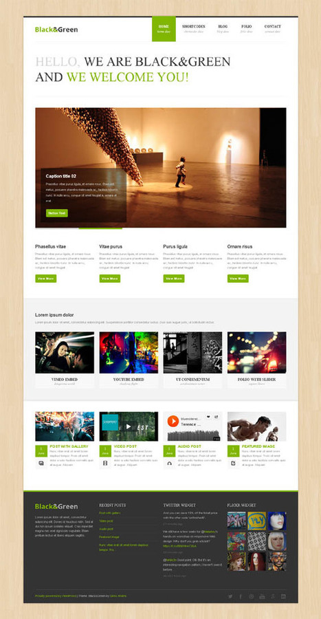 Black&Green, WordPress Responsive Green Portfolio Theme | WP Download | wordpress | Scoop.it