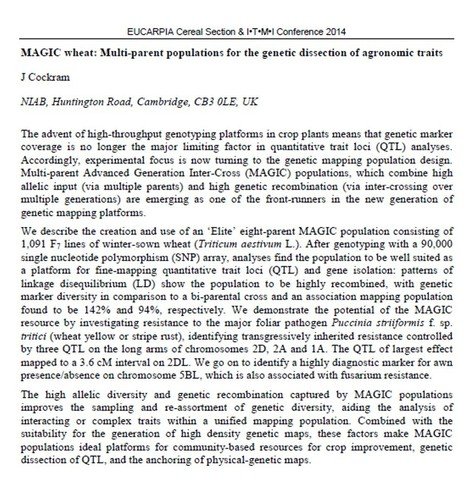 MAGIC Wheat: multiparnet populations for the genetic dissection of agronomic traits | Plant multi-parent advanced generation intercross (MAGIC) populations | Scoop.it