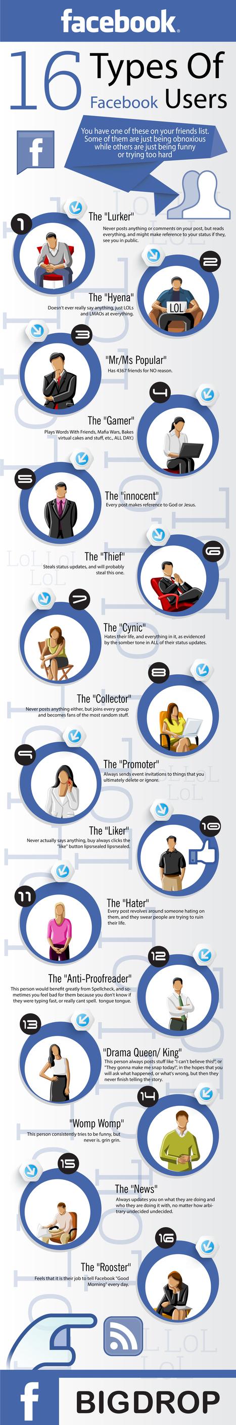 16 tipos de usuarios de FaceBook #infografia #infographic #socialmedia | juancarloscampos.net | Scoop.it