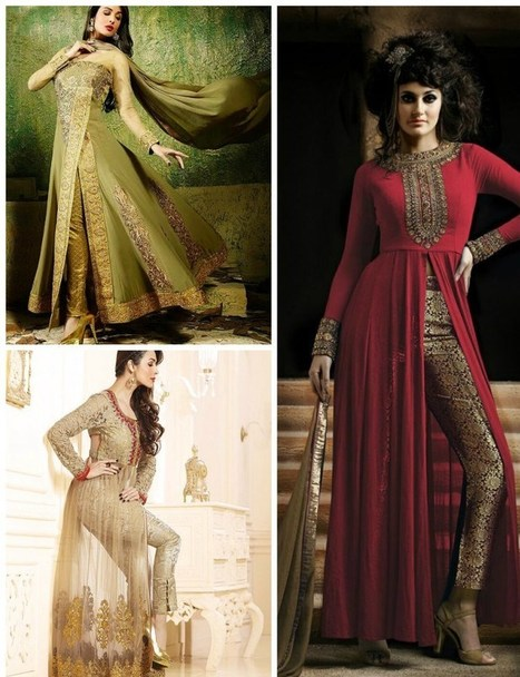 Pant Style Pajamas Open Front  Anarkali Frocks   | Live Style Vogue | stylish lawn dresses | Scoop.it