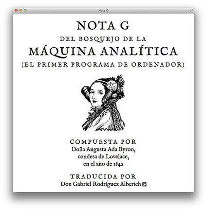 La Nota G de Ada Lovelace, el primer programa de ordenador de la historia | Microsiervos (Ordenadores) | Informática 4º ESO | Scoop.it