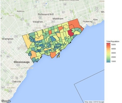 everyday analytics: Plotting Choropleths from Shapefiles in R with ggmap - Toronto Neighbourhoods by Population | R for Journalists | Scoop.it