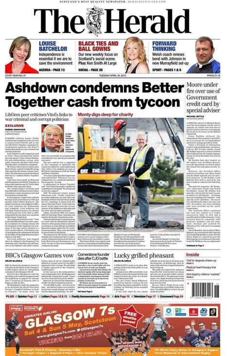 Lord Ashdown condemns Vitol donation to @UK_Together | YES for an Independent Scotland | Scoop.it