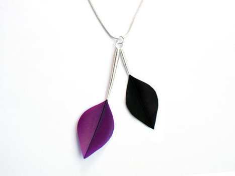 Minimalist Leaf Shape Feather Necklace with Silver Stems in Purple and Jet Black | Women Fashion | Scoop.it