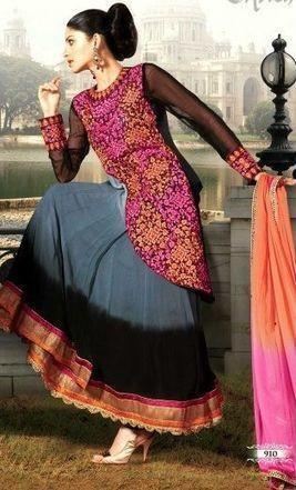 Grey & Black Georgette Anarkali | Fashion | Scoop.it