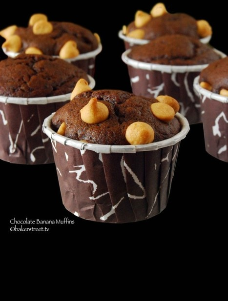 Chocolate Banana Muffins with Peanut Butter Chips | Baker Street | The Rambling Epicure | Scoop.it