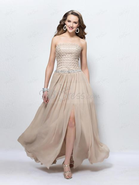 $ 167.29 Elegant Applique Strapless A-Line Floor Length Split Front Prom Dress Designed Independently | Fireworks  cheap&stable quality | Scoop.it