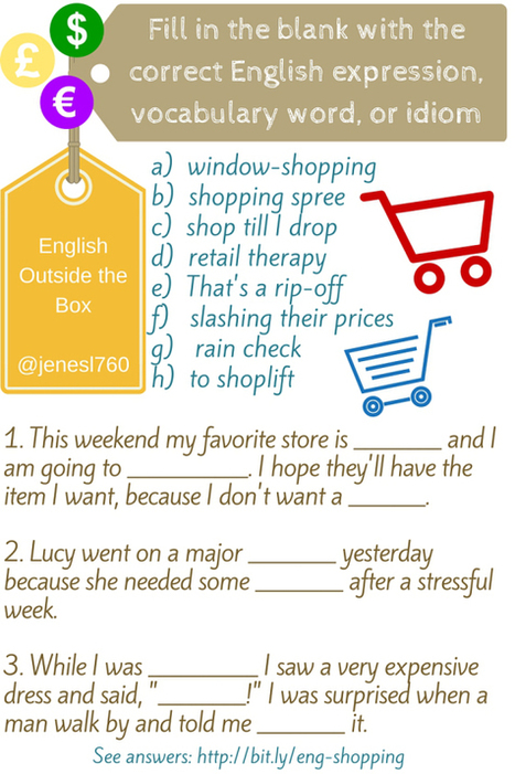 English Expressions, Vocabulary, and Idioms for Shopping | Learning English is a Journey | Scoop.it