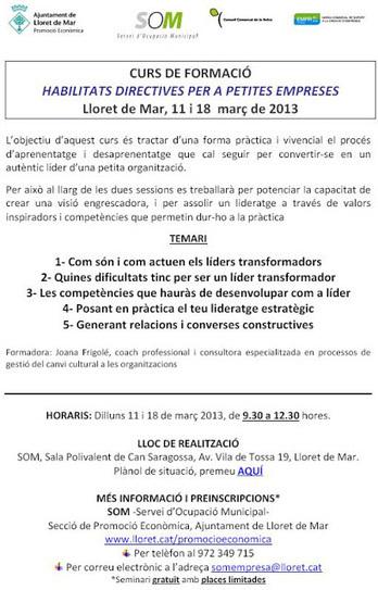 Servei d'Ocupació Municipal -SOM- Lloret de Mar: Curs Habilitats Directives, març 2013 | para paro Lloret de mar | Scoop.it