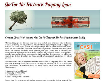 Apply For No Teletrack Payday Loan | No Teletrack Payday Loans | Scoop.it