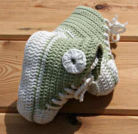 Baby booties Eco friendly Organic cotton Baby crochet converse style basketball tennis Baby gifts Green & cream Vegan fairtrade 3- 6 months | Organic Baby Products | Scoop.it