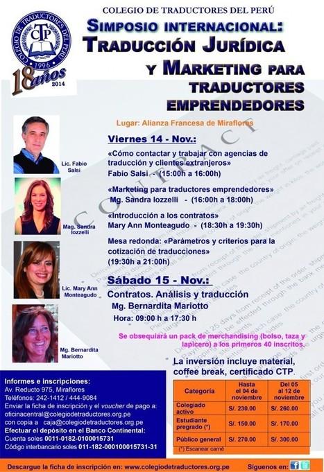 14/15-11-2014 Colegio de traductores | Simposio Internacional de Traducción Jurídica y Marketing para Traductores Emprendedores. | Traducción en Perú: eventos, noticias, talleres | Scoop.it