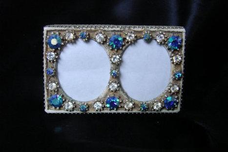 1950s Florenza Jeweled Miniature Double Photo Frame / Aurora Borealis Rhinestones / Vintage Vanity | Jewelry | Scoop.it