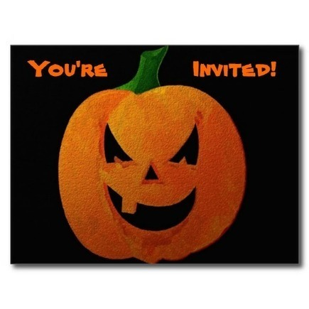 "Halloween Pumpkin ""You're Invited"" Postcards from Zazzle.com 
