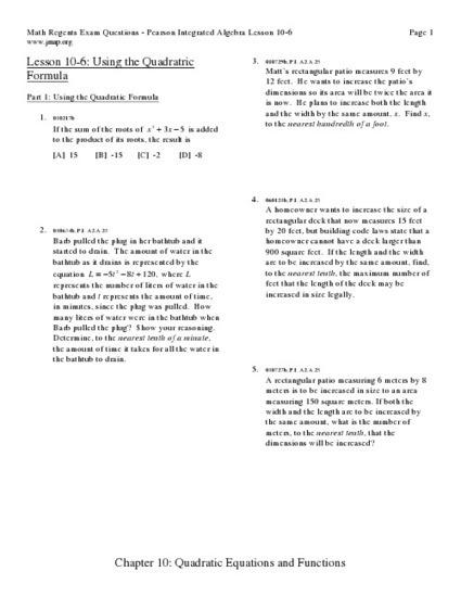 Quadratic Equations math lesson plan: Chapter 10: Quadratic ... | Quadratic equation | Scoop.it