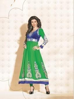 Latest Sushmita Sen Green And Blue Georgette Anarkali Suit 9638 - Sushmita Sen Collection Sushmita Sen Dress | Online Suit Salwar Kameez |  Suit Price| Suit Sale | Apparel | Women Suit | Scoop.it